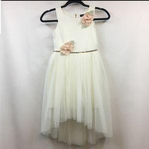 Zunie white pink hi-low flower girl dress gown 12